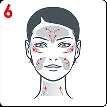 للحصول على الفعالية المستهدفة ، قم بتدليك ، الخد وخط العنق والجبين وخطوط العيون.
