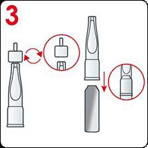 أدخِلي أداة التطبيق البلاستيكية لتفتحي الأمبولة